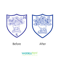 Refining an existing crest for Park House School, Newbury.